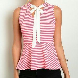Tops - Pink/White Striped Tie Neck Peplum Top